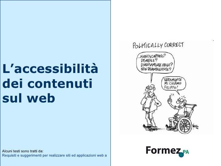 L'accessibilità dei contenuti sul web