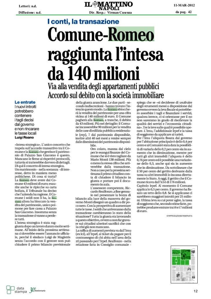 Lettori: n.d.                                   11-MAR-2012Diffusione: n.d.   Dir. Resp.: Virman Cusenza   da pag. 42     ...