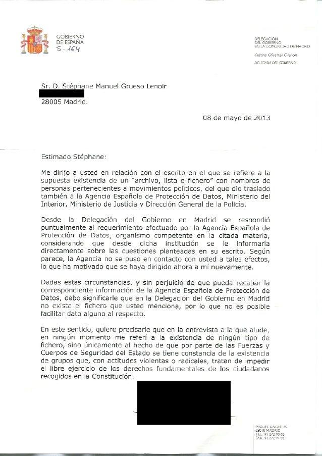 Contestación Cristina Cifuentes sobre #LaListaDeCifu (mayo 2013)