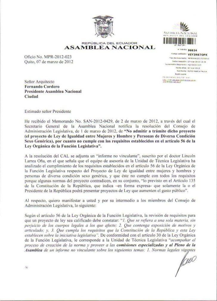 Carta de contestación a la Resolución de no admitir a trámite el Proyecto de Ley de Igualdad