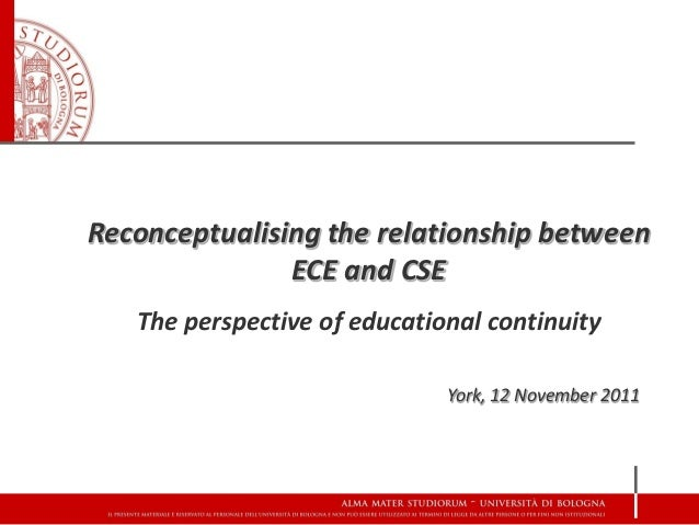 Reconceptualising the relationship between               ECE and CSE   The perspective of educational continuity          ...