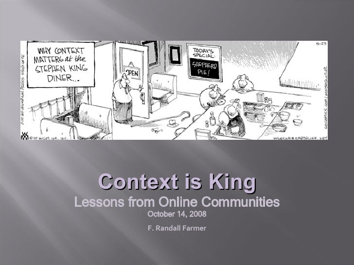 Context is King Lessons from Online Communities October 14, 2008 F. Randall Farmer