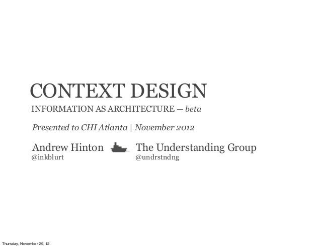 CONTEXT DESIGN               INFORMATION AS ARCHITECTURE — beta               Presented to CHI Atlanta | November 2012    ...