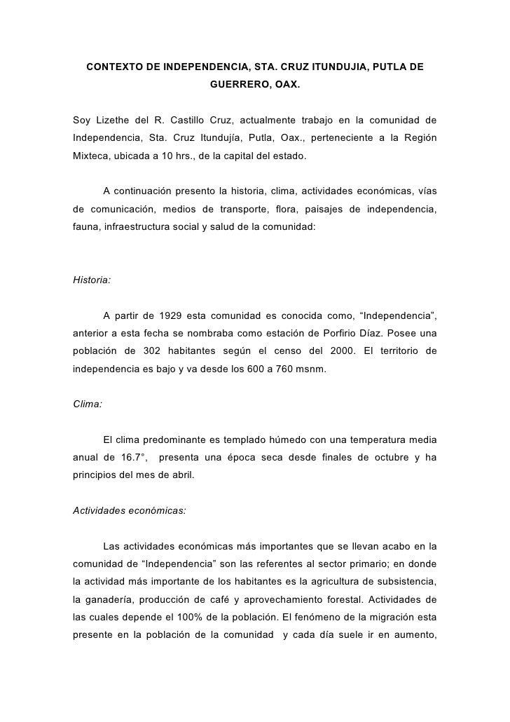 CONTEXTO DE INDEPENDENCIA, STA. CRUZ ITUNDUJIA, PUTLA DE                                 GUERRERO, OAX.   Soy Lizethe del ...