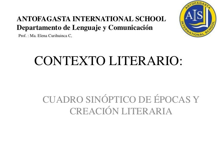 ANTOFAGASTA INTERNATIONAL SCHOOLDepartamento de Lenguaje y ComunicaciónProf. : Ma. Elena Curihuinca C,         CONTEXTO LI...