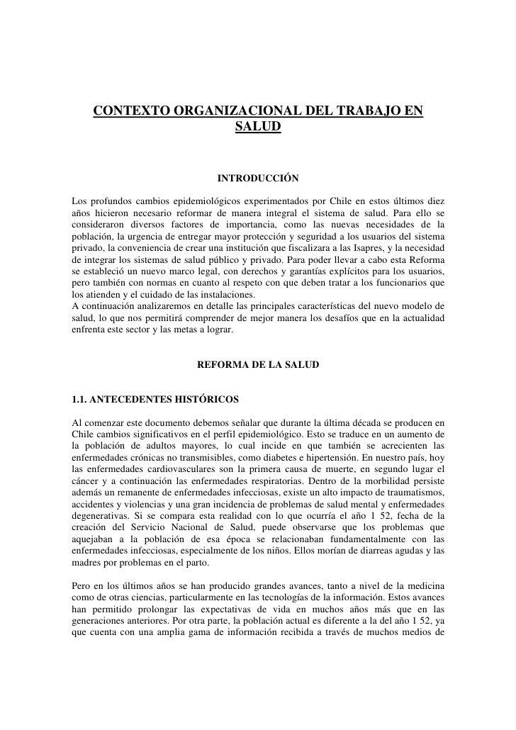 Contexto Organizacional Del Trabajo En Salud