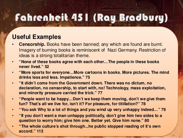 an analysis of the city in theory in fahrenheit 451 by ray bradbury A summary of burning bright (continued) in ray bradbury's fahrenheit 451   montag tells them that he left his wife back in the city and worries aloud that.