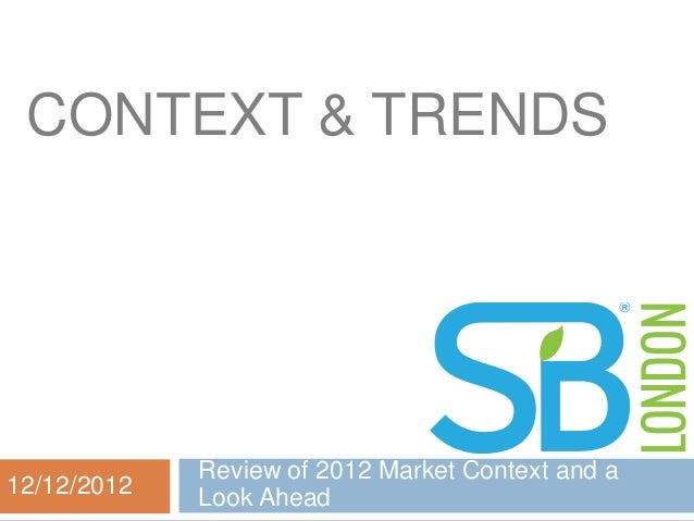 CONTEXT & TRENDS             Review of 2012 Market Context and a12/12/2012   Look Ahead