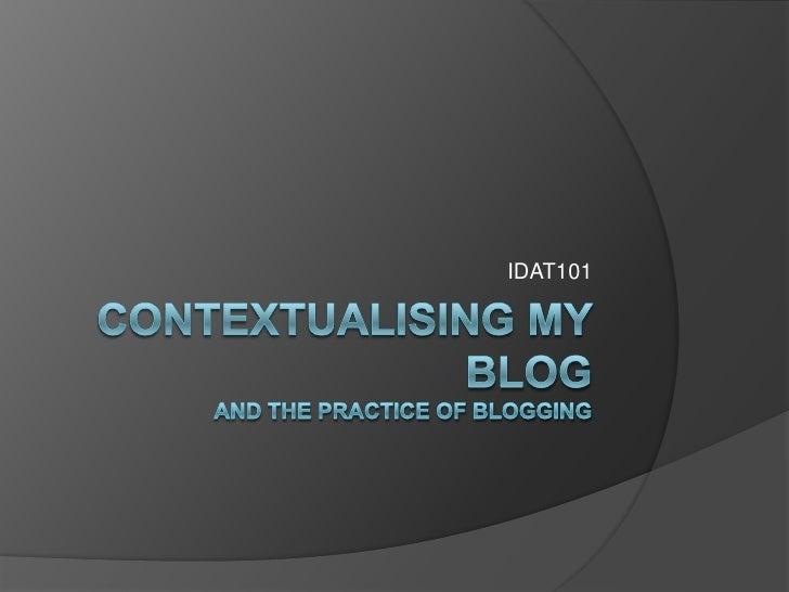 Contextualising My Blog
