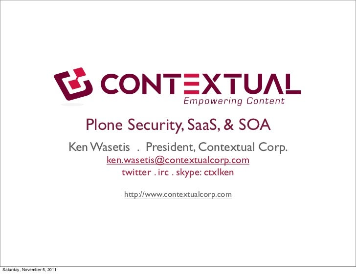 Contextual Plone Security SaaS & SOA