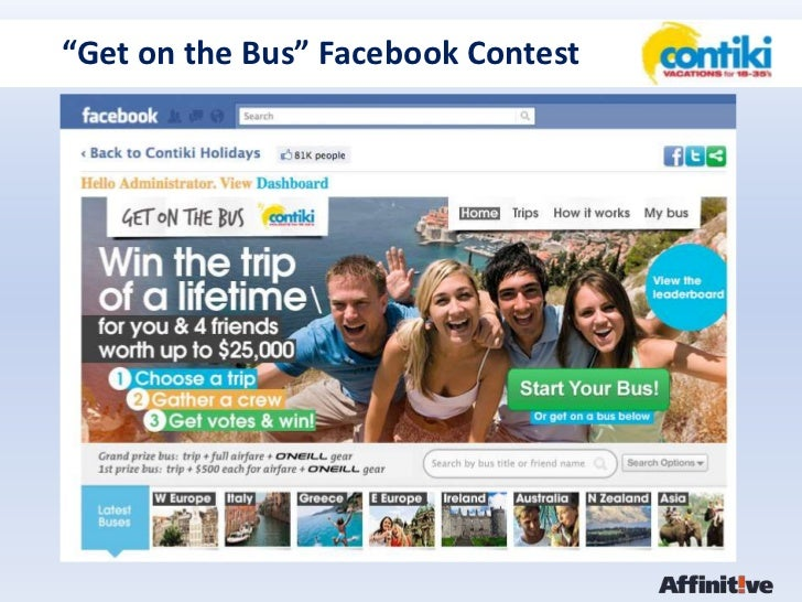 "Contiki - ""Get on the Bus"" Facebook Contest"