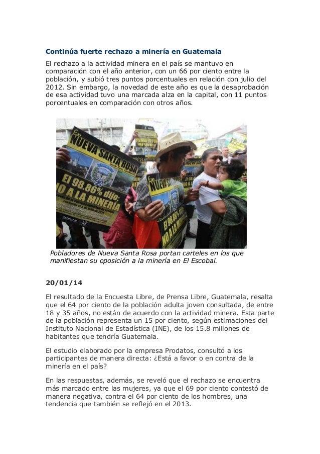 Continúa fuerte rechazo a minería en Guatemala