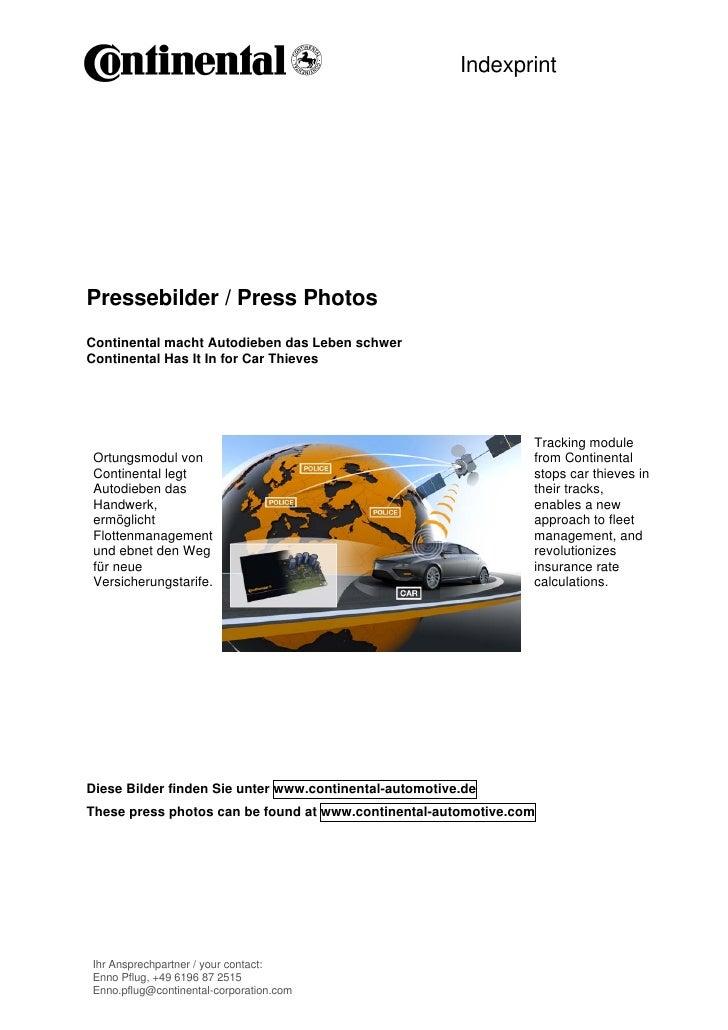 IndexprintPressebilder / Press PhotosContinental macht Autodieben das Leben schwerContinental Has It In for Car Thieves   ...