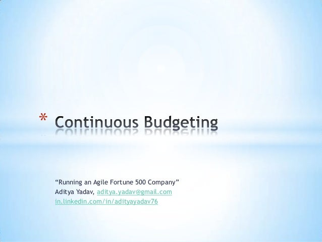 Continous Budgeting