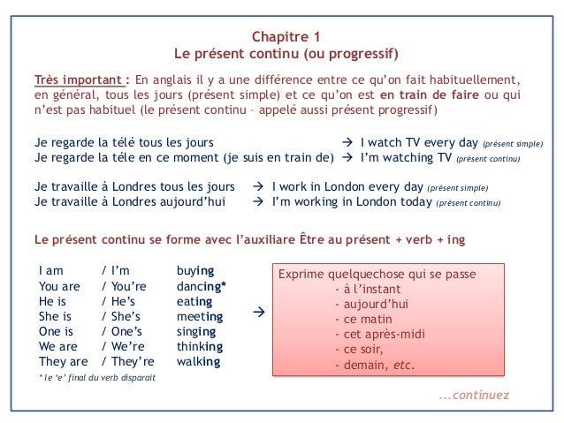 Chapitre 1 Le présent continu (ou progressif) Très important : En anglais il y a une différence entre ce qu'on fait habitu...