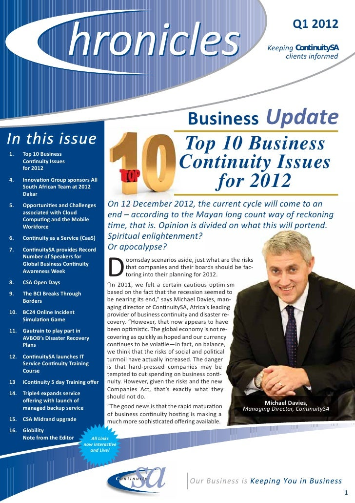 ContinuitySA Q1 Client Chronicles Newsletter 2012