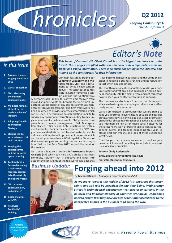 ContinuitySA Client Chronicles Newsletter Q2, 2012