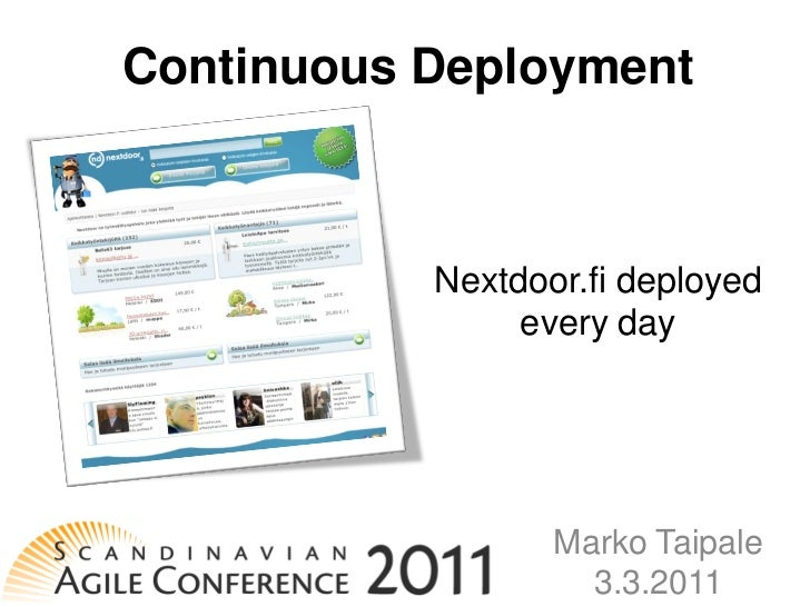 Continuous Deployment – Nextdoor.fi released every day at Scan-Agile 2011