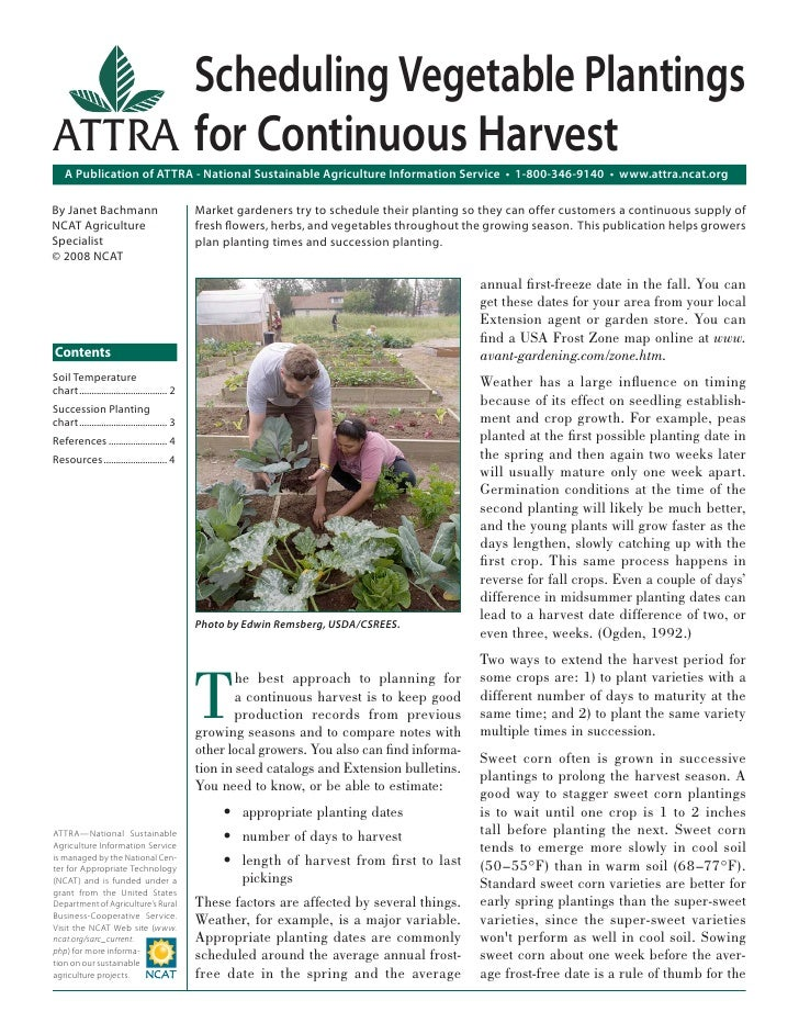 Scheduling Vegetable PlantingsATTRA for Continuous Harvest    A Publication of ATTRA - National Sustainable Agriculture In...