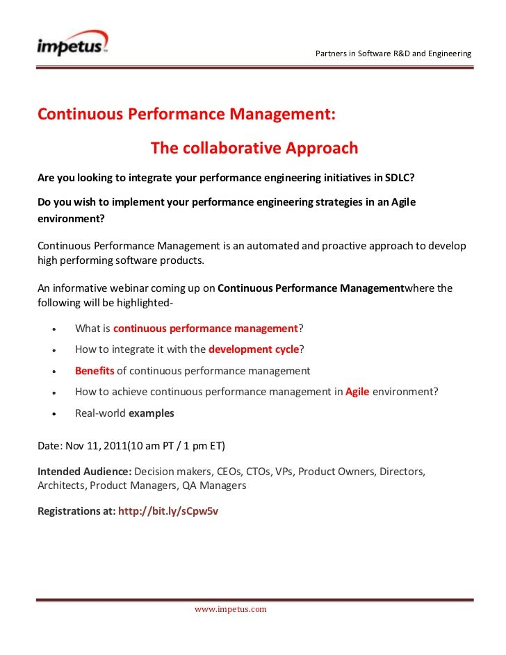 Partners in Software R&D and EngineeringContinuous Performance Management:                       The collaborative Approac...