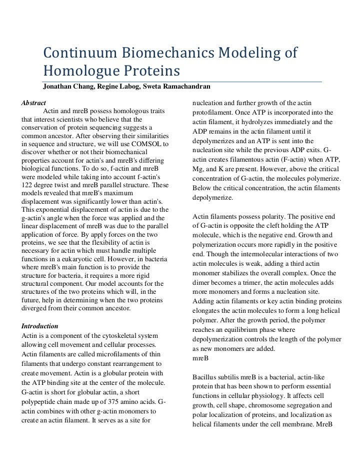 Continuum biomechanics modeling of homologue proteins