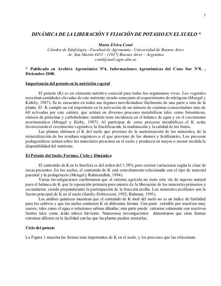 1        DINÁMICA DE LA LIBERACIÓN Y FIJACIÓN DE POTASIO EN EL SUELO *                                           Marta Elv...