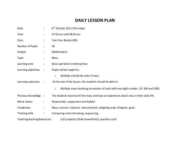 Contoh rancangan-pengajaran-harian-matematik tahun 4 mass