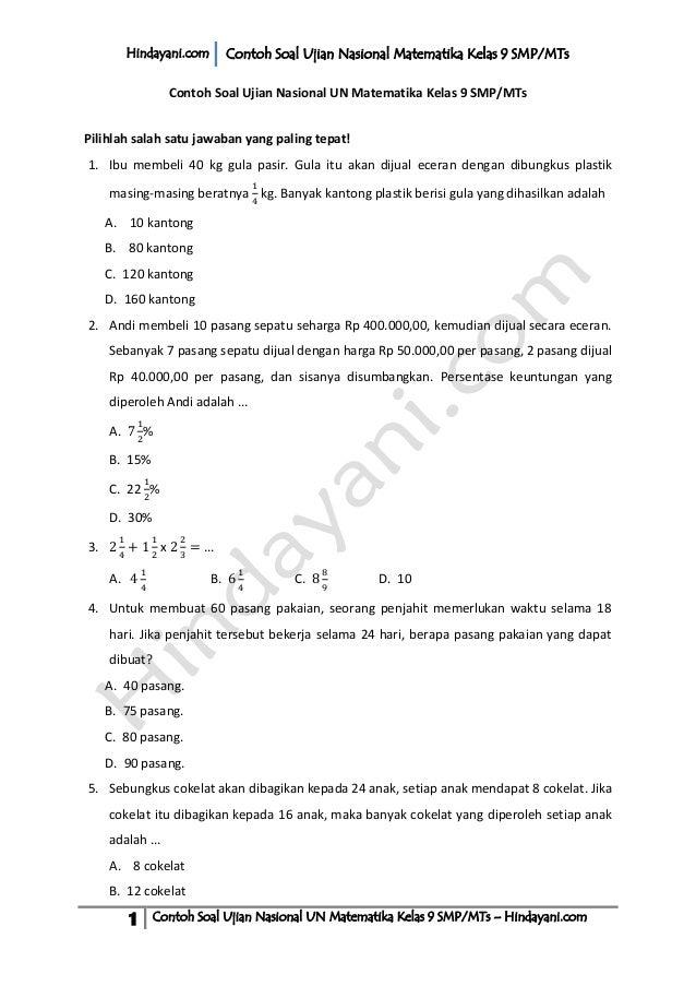 Contoh Soal Ujian Nasional Un Matematika Kelas 9 Smp M Ts