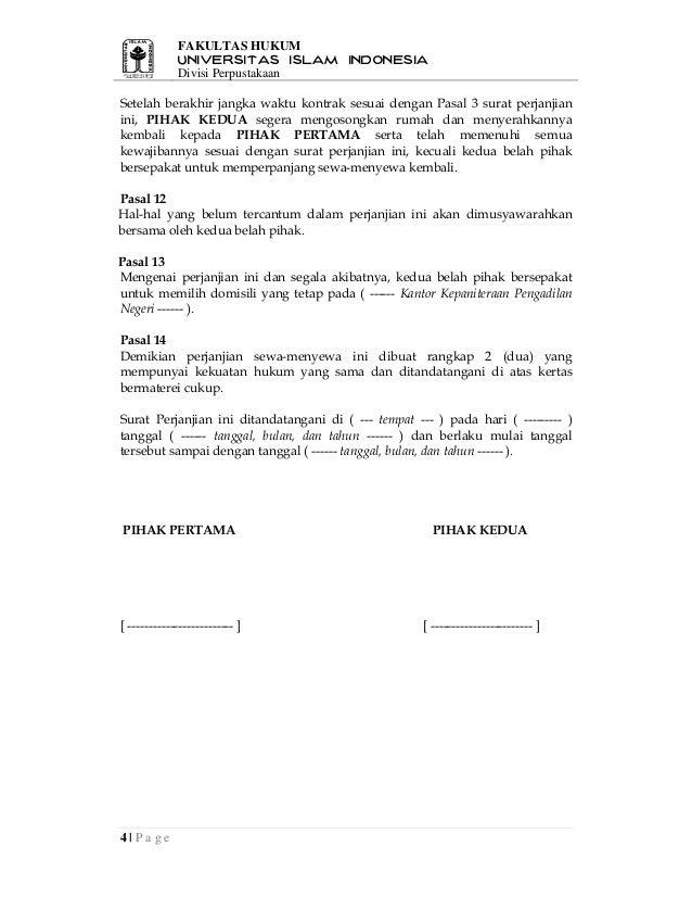 contoh surat perjanjian sewa menyewa rumah2