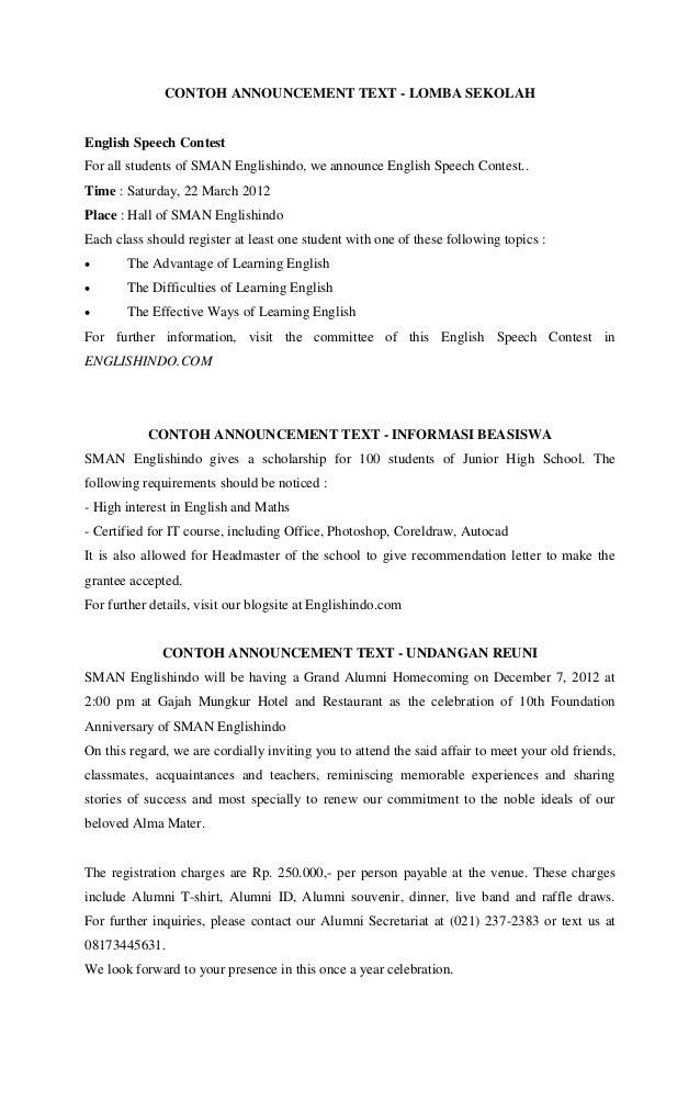 Contoh Announcement Text
