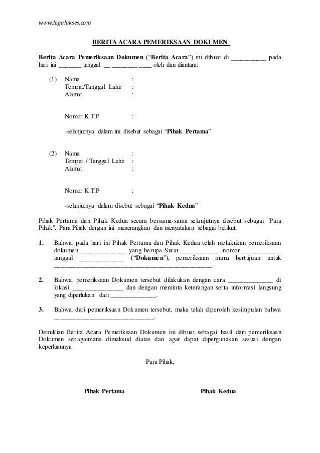 contoh berita acara pemeriksaan dokumen