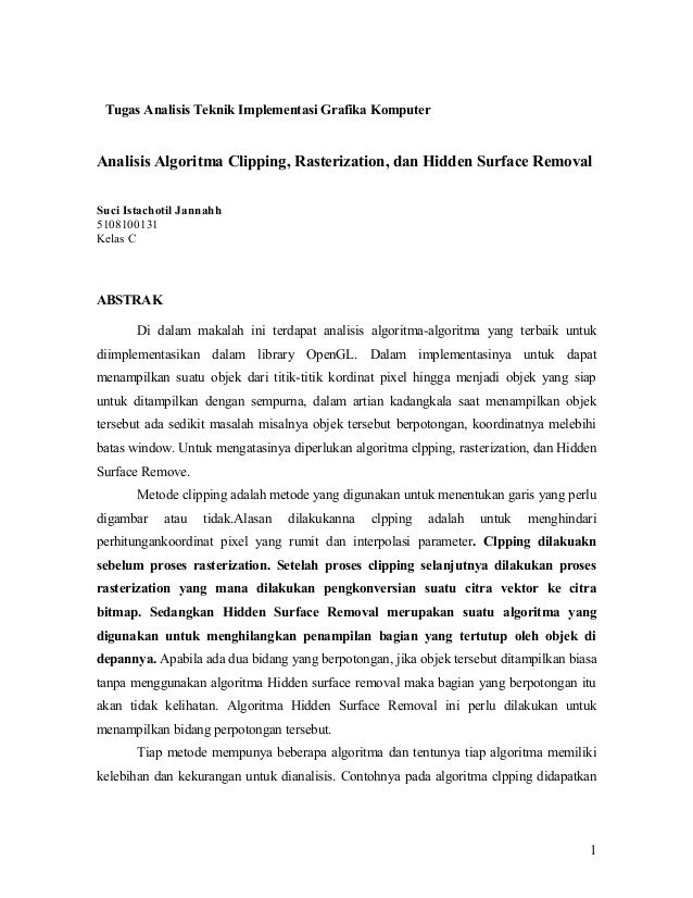 Tugas Analisis Teknik Implementasi Grafika KomputerAnalisis Algoritma Clipping, Rasterization, dan Hidden Surface RemovalS...