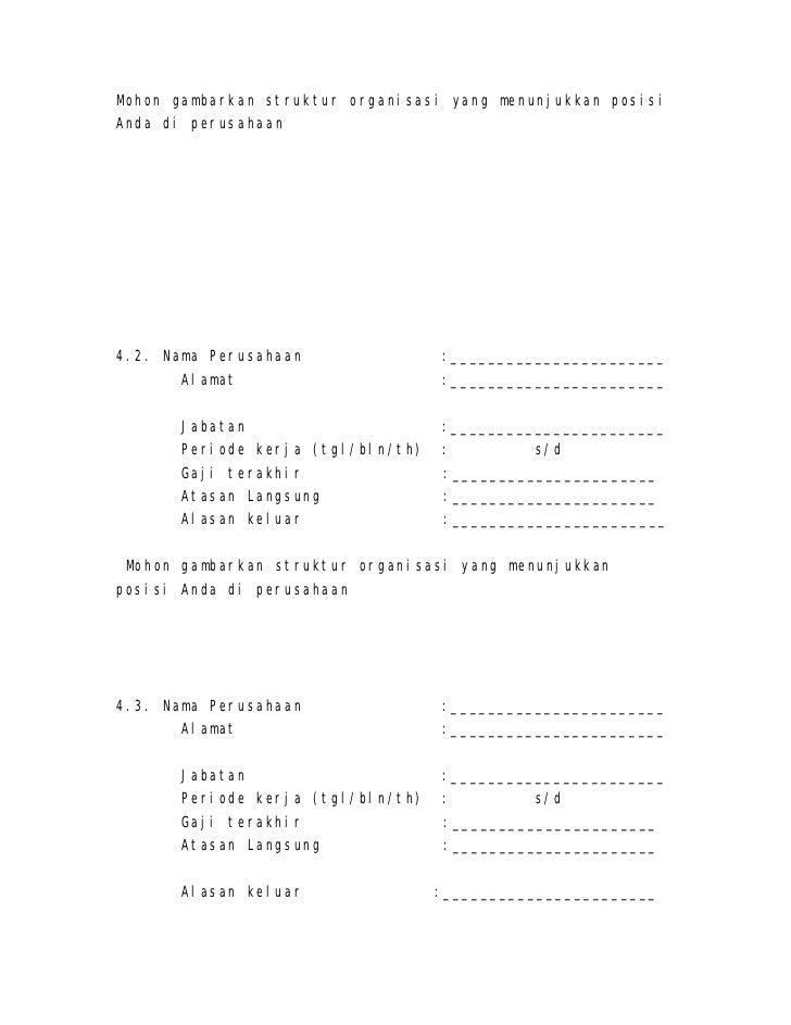 Contoh formulir aplikasi kerja karyawan by daniel doni ...