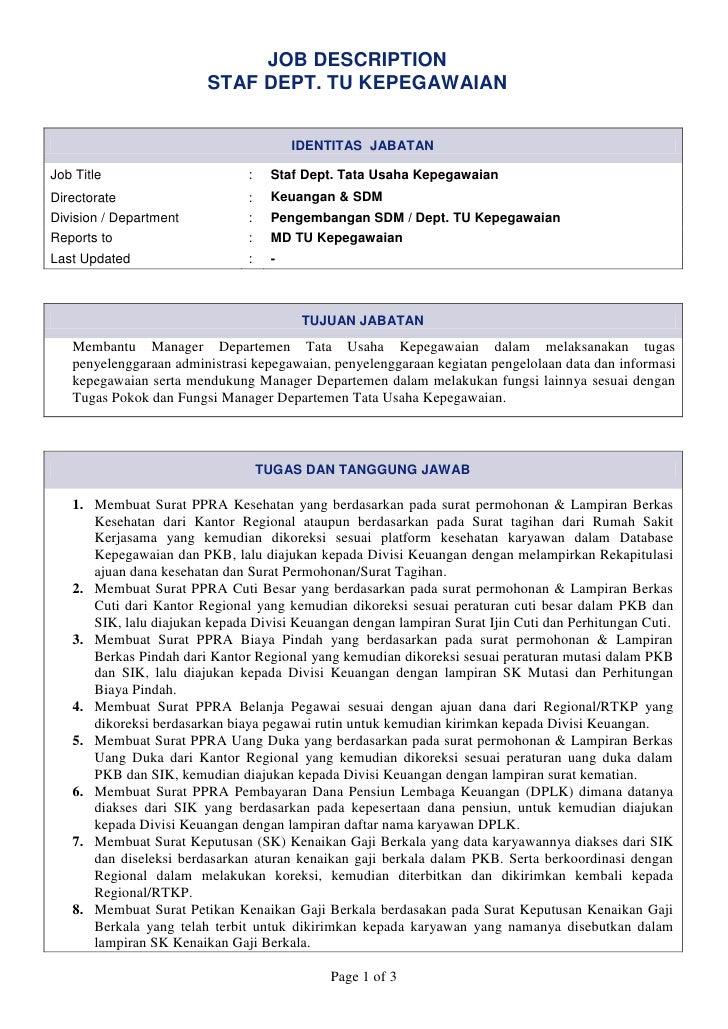 JOB DESCRIPTION                         STAF DEPT. TU KEPEGAWAIAN                                        IDENTITAS JABATAN...