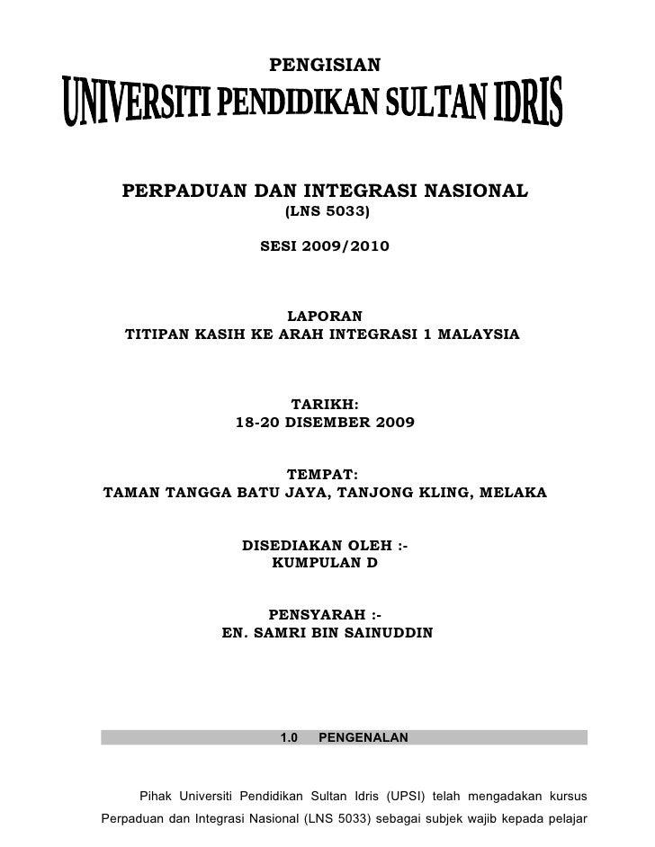 PENGISIAN        PERPADUAN DAN INTEGRASI NASIONAL                              (LNS 5033)                           SESI 2...