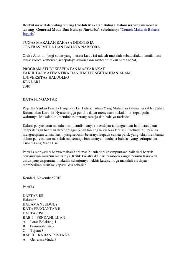 """Berikut ini adalah posting tentang Contoh Makalah Bahasa Indonesia yang membahas tentang """"Generasi Muda Dan Bahaya Narkoba..."""