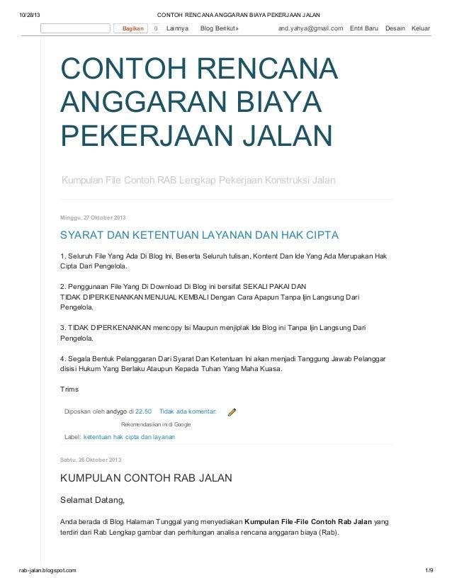 Contoh rencana anggaran biaya pekerjaan jalan di BLOG : http://rab ...
