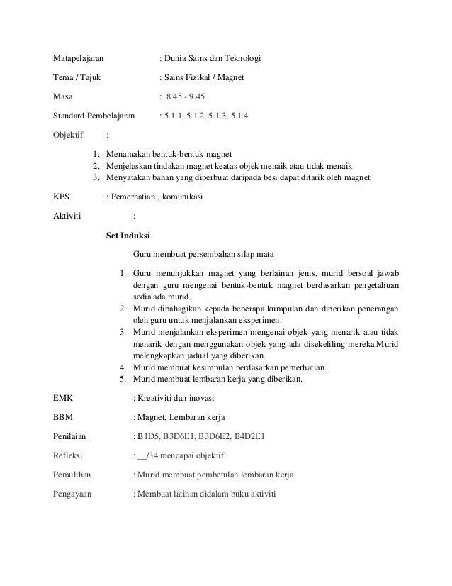 Matapelajaran                 : Dunia Sains dan TeknologiTema / Tajuk                  : Sains Fizikal / MagnetMasa       ...