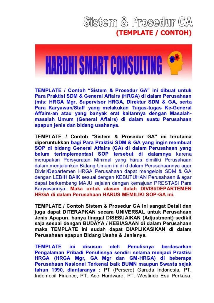 """(TEMPLATE / CONTOH)TEMPLATE / Contoh """"Sistem & Prosedur GA"""" ini dibuat untukPara Praktisi SDM & General Affairs (HRGA) di ..."""
