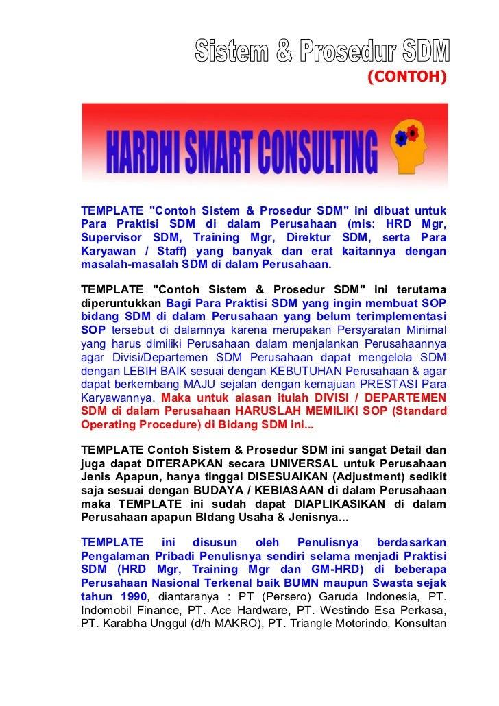 """(CONTOH)TEMPLATE """"Contoh Sistem & Prosedur SDM"""" ini dibuat untukPara Praktisi SDM di dalam Perusahaan (mis: HRD Mgr,Superv..."""
