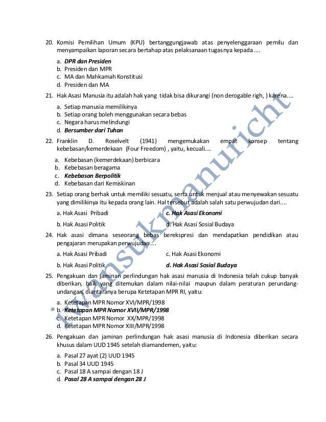 Contoh Soal Soal Ppkn Pilihan Ganda Kelas 9 Semester 2 Soal Dan Jawaban Pkn Pilihan Ganda Sma Kls X