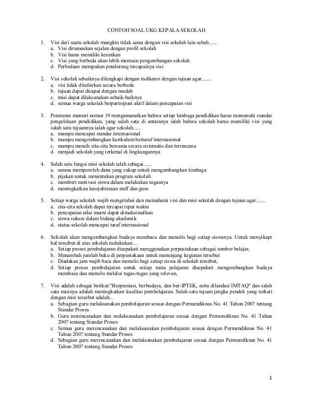 Contoh Soal Ukg 2015 Untuk Kepala Sekolah
