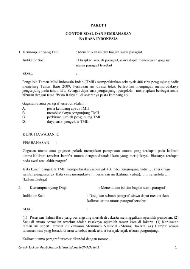 Contoh soal un bahasa indonesia smp pk1 dan pembahasannya .