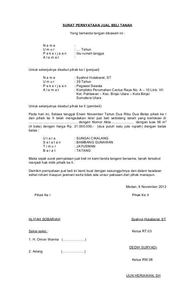 Contoh Surat Perjanjian Jual Beli Tanah Jual Beli Tanah