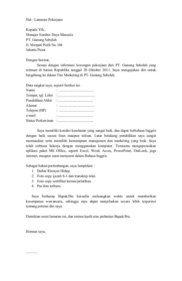 Contoh Surat Lamaran Kerja Operator