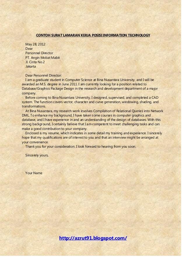 Image Result For Contoh Surat Lamaran Kerja Formal Dalam Bahasa Inggris