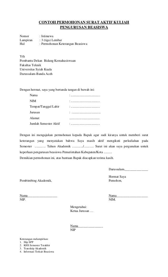 contoh surat permohonan keringanan biaya kuliah dari orang tua