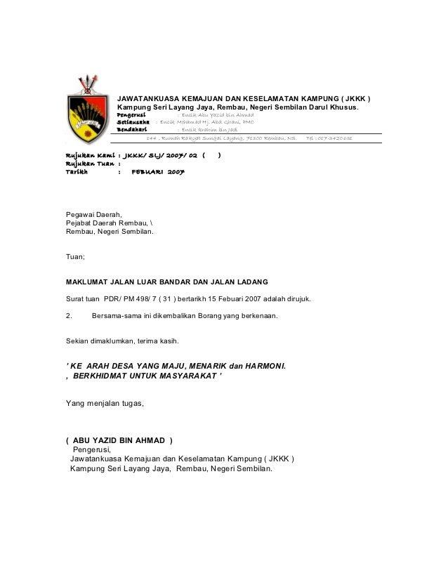 Contoh Surat Rasmi Sokongan Ketua Kampung Rasmi Re