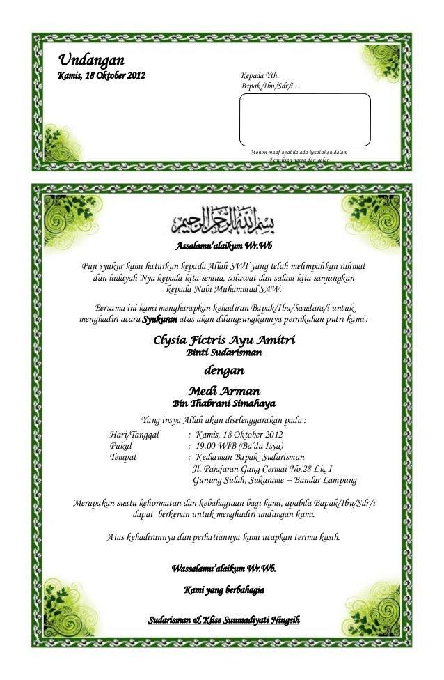 Contoh surat undangan syukuran pernikahan(1)