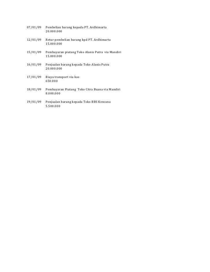 07/01/09   Pembelian barang kepada PT. Ardhimarta           20.000.00012/01/09   Retur pembelian barang kpd PT. Ardhimarta...